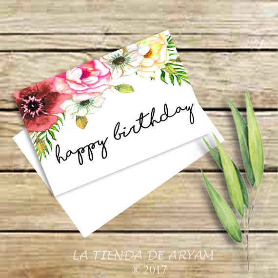 Birthday Card For Her Happy Birthday Watercolor Etsy