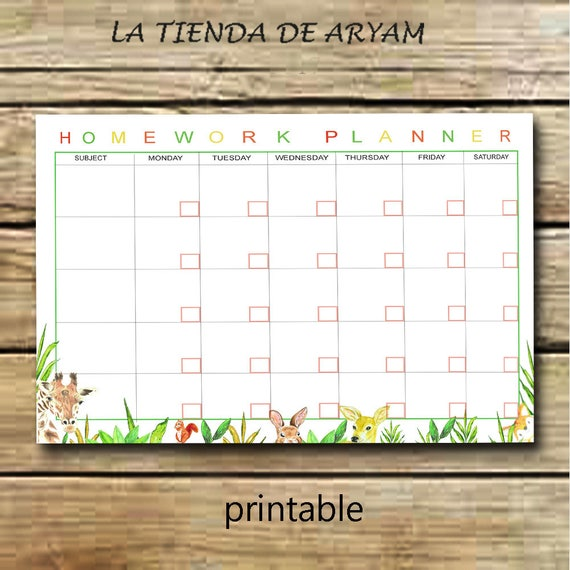Kids Homework Planner Printable, Childs Homework Planner, Schedule  Printable,Childs Homework Planner, Schedule, Childs Schedule, Kids