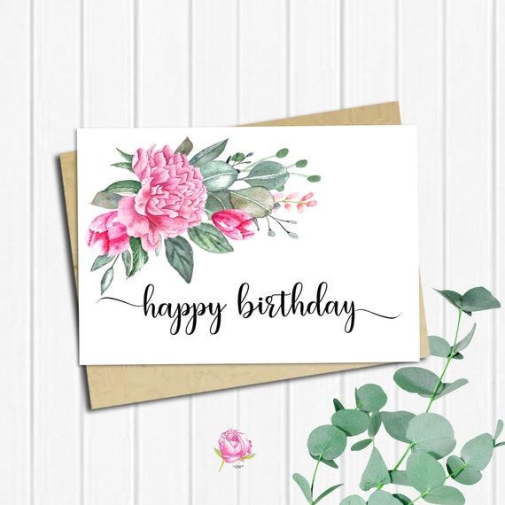 Happy Birthday Card Birthday Card Printable 5x7 Greeting Etsy