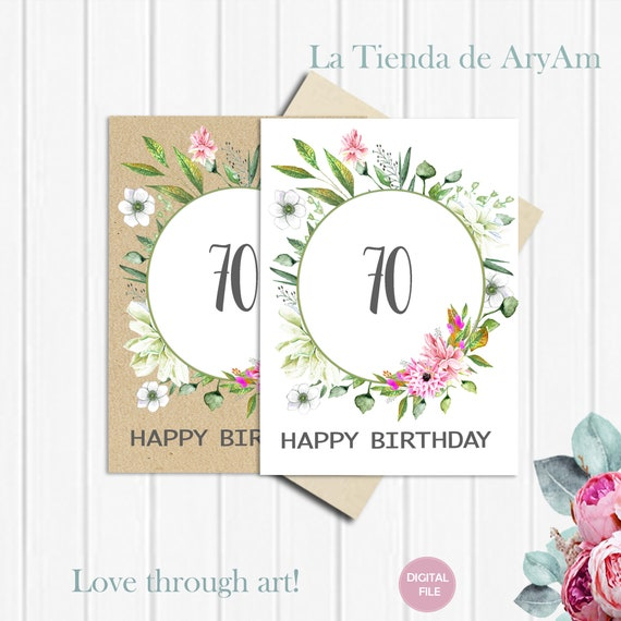 70th Birthday Card Printable For Her