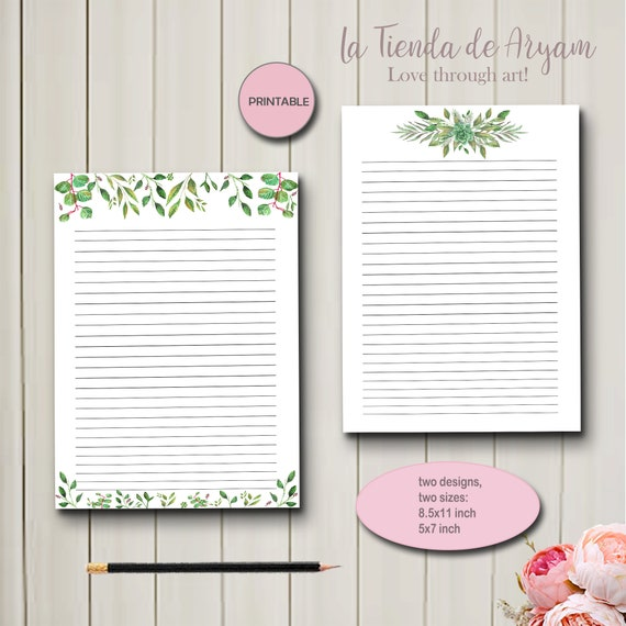 photograph about Letter Writing Paper Printable named Stationery, Composing Paper Printables, Letter paper, 5x7 notepad , Card Paper, Greenery letter paper, Quick Downloads, watercolor notepad