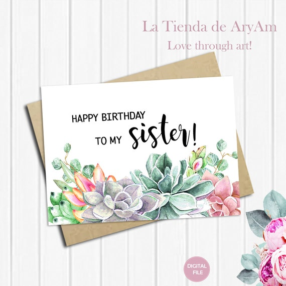 It's just a photo of Unusual Printable Birthday Cards for Sister