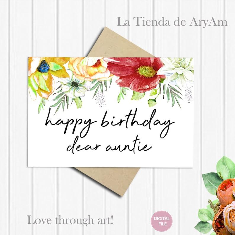 Feliz Cumpleaños Querida Tía Tarjeta Cumpleaños Tía Tarjeta Etsy