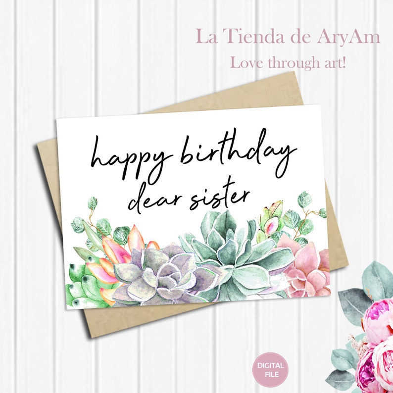 Happy Birthday Sister Card For 5x7 Greeting