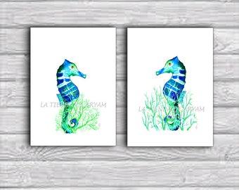 Seahorse Print Printable,  Seahorse Wall Art digital, Beach Decor, Print Beach Wall Art, Printable Sea Horse, Marine art