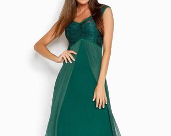 Deep green evening dress, evening gown, elegant dress, floor length dress, maxi dress