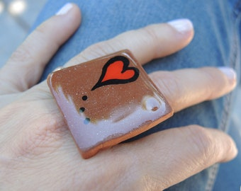 "Ceramic Ring ""red heart"""
