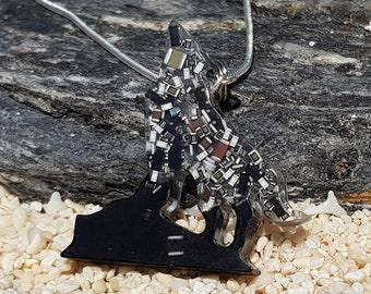 Eco Friendly Circuit Board Art, Howling Wolf Necklace, Recycled Upcycled Jewellery, Techwear Steampunk Cyberpunk Gift, Tech Geek Jewelry