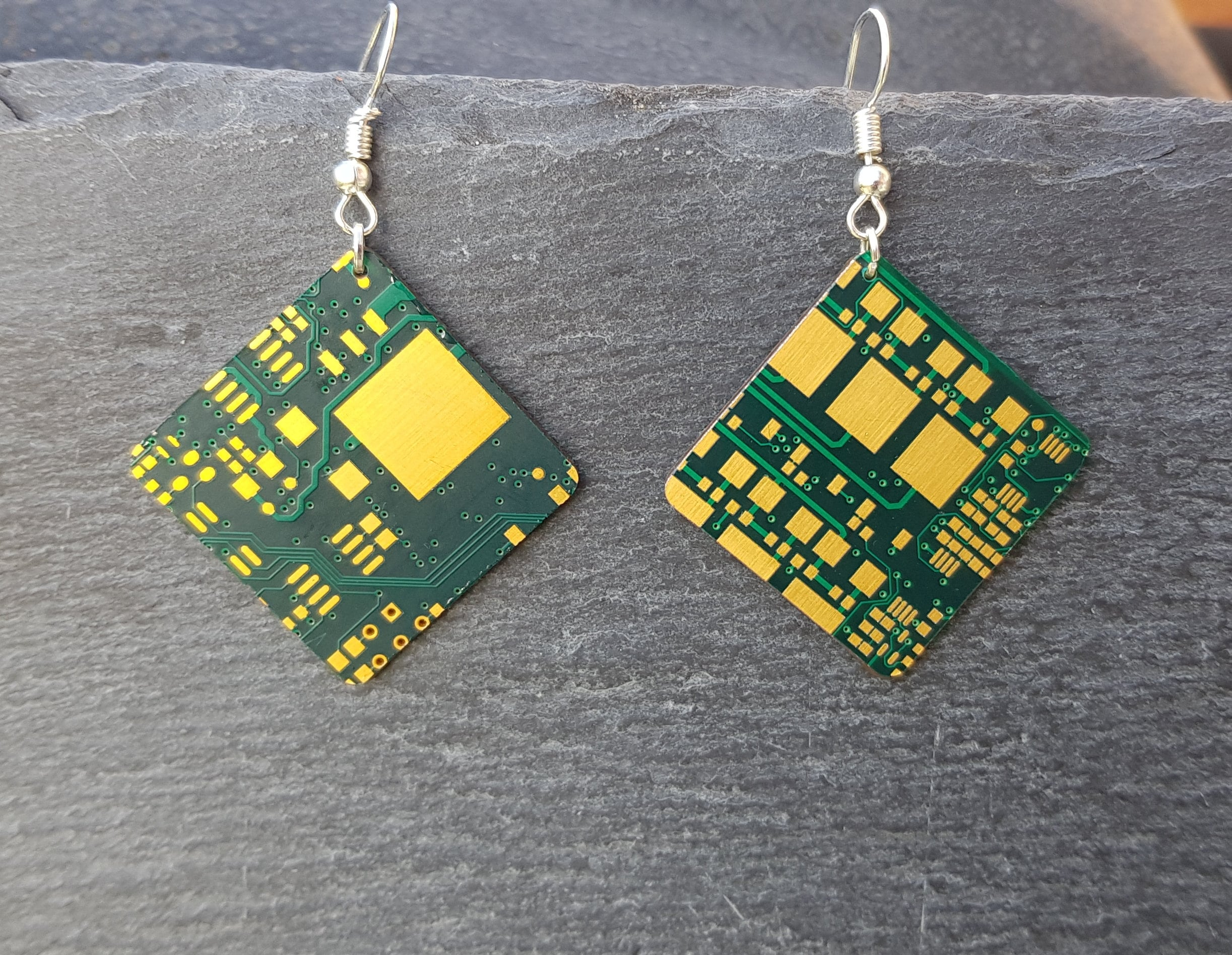 green gold circuit board eco friendly earrings upcycled etsy