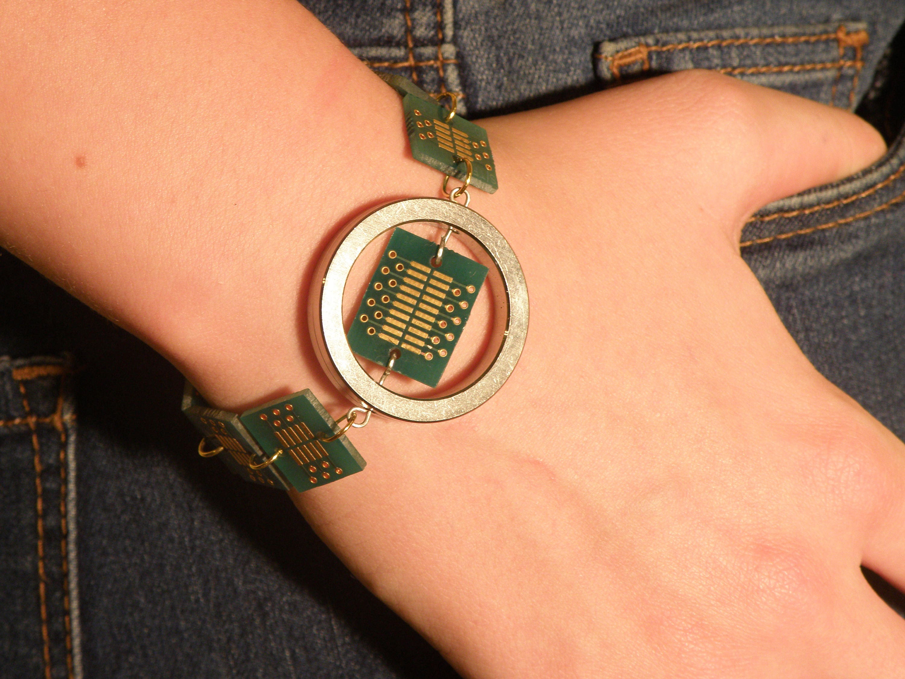 green gold bracelet eco friendly circuit board recycled etsy