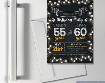Personalised Joint Adult Birthday Party Invitation Thank You Cards A6 Magnets