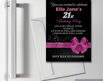 Personalised Magnetic Adult Invitations Disco Birthday Party