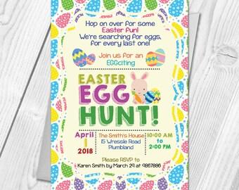 Personalised Easter Egg Hunt Party Invitation Cards | Egg Hunt Invitation Cards | Digital / Printable DIY PDF File Download