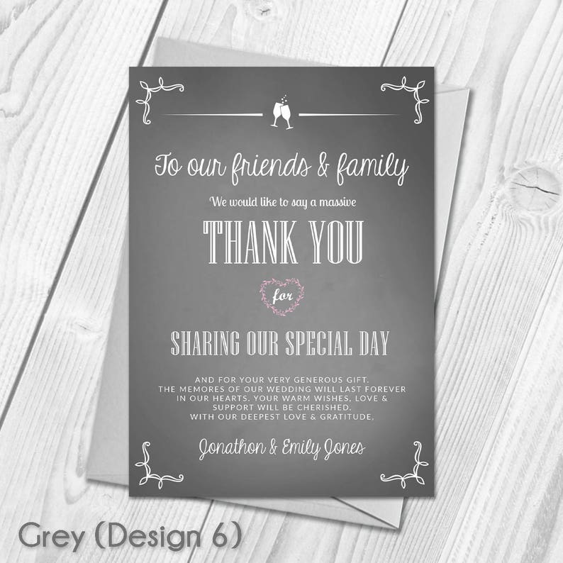 Digital  Printable DIY PDF File Download Wedding Guest Thanks Premium Personalised Wedding Thank You Cards
