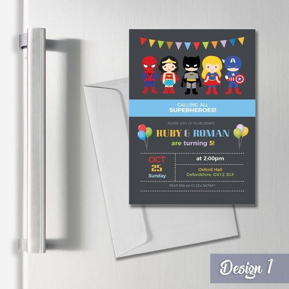 Personalised Magnetic Superhero Birthday Party Invitations