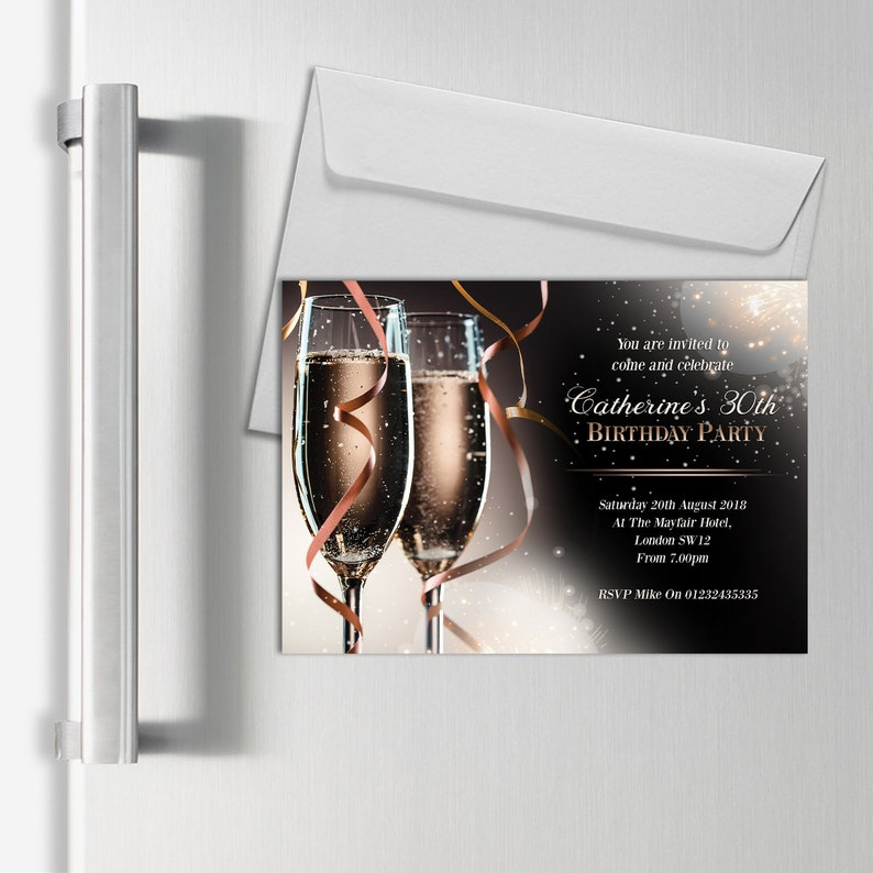 Personalised Magnetic Adult Invitations Champagne Birthday