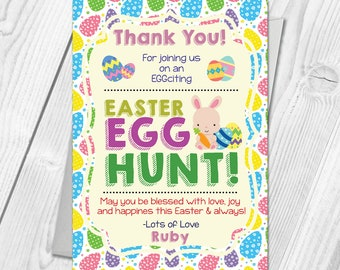 Personalised Easter Egg Hunt Party Thank You Cards | Egg Hunt Thank You Cards | Digital / Printable DIY PDF File Download
