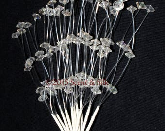 Floral Decorative Spray Clear Crystal 12 Stems Per Bunch, Crafts, Wedding Bouquets, Home Decor.