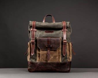 e15783bf858 Waterproof Waxed Canvas Rucksack/Backpack for Men Canvas Backpack Men  Backpack Laptop Bag Rolltop Backpack Travel Rucksack Brown Leather