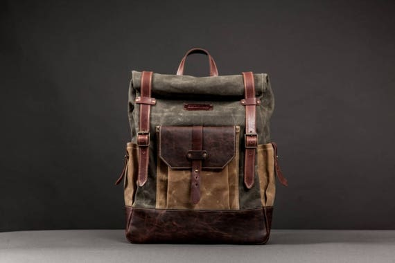 Waterproof Waxed Canvas Rucksack Backpack for Men Canvas   Etsy e596b54c94