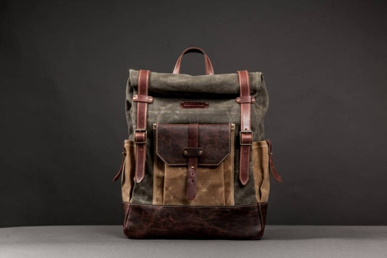 fecad4438d Waterproof Waxed Canvas Rucksack Backpack for Men Canvas