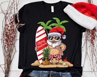 f6eb2cd1d7f Christmas in July Santa Hawaiian Surfing T Shirt Summer Surf Boys Girls Men  Women Kids   Sweatshirt   Hoodie