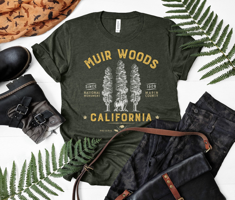 Muir Woods National Monument chemise, Redwood U.S. National parcs d'impression sur Art cadeau Californie ours, manches courtes T-Shirt unisexe, sur d'impression demande e244d1