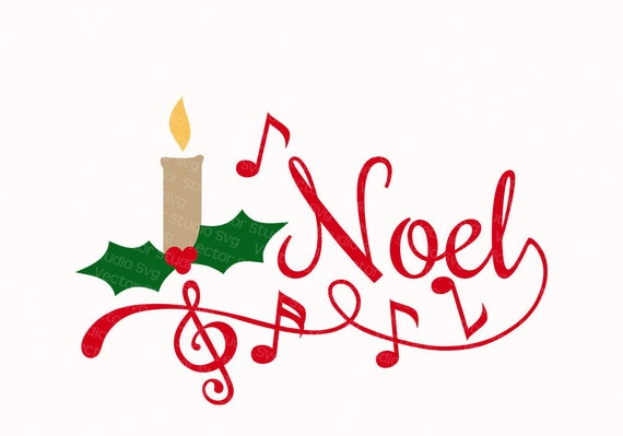Noel Svg Christmas Carol Clipart Vector Design Festive Candle Etsy