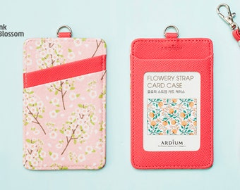 d13a5fbb7 ID CARD HOLDER | Transportation Card Holder | Pink Cherry Blossom | id Card  Sleeve | Straps | Student id Card Holder | id Badge Cover | Gift