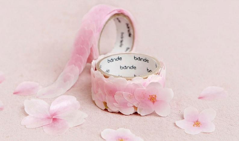 201142b1634 CHERRY BLOSSOM LEAF Tape Pink Petal Tape Korean Washi Tape