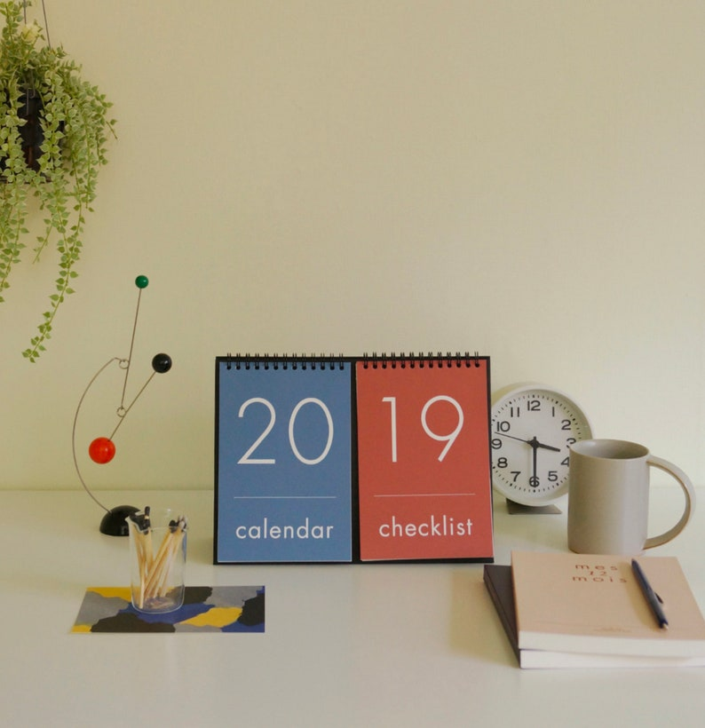 2019 DESK CALENDAR | Simple Calendar | Desk Schedule | Free Note | Vintage  Calendar | Korean Stationery | Ring Calendar | Christmas Gift