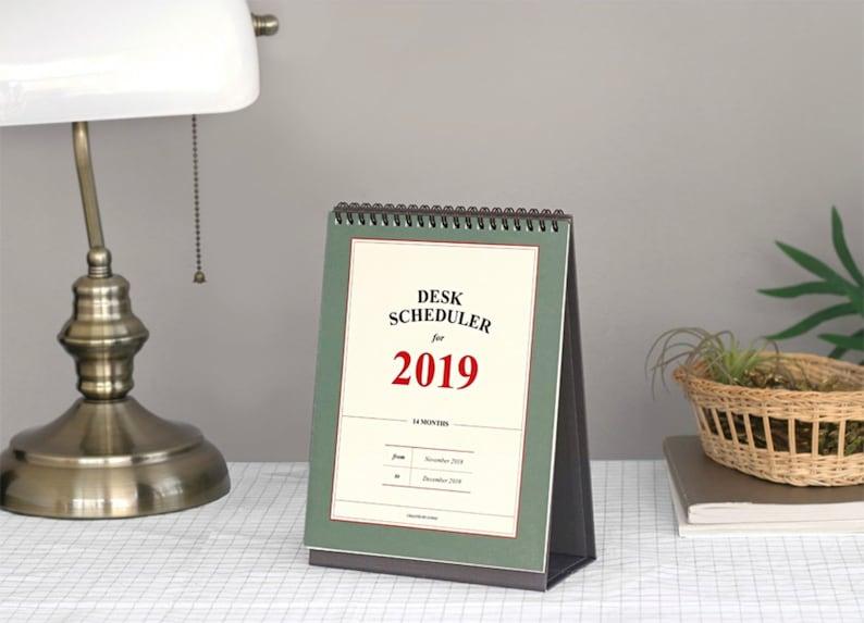2019 DESK CALENDAR   Simple Calendar   Desk Schedule   Free Note   Vintage  Calendar   Korean Stationery   Ring Calendar   Christmas Gift