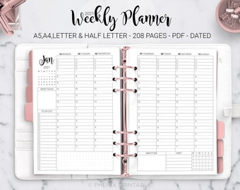 2021 Weekly Hourly Planner Habit Tracker Weekly Schedule Week on Two Page Vertical Dated A5 A4 Letter Half Size PDF Printable Inserts