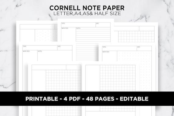 Cornell Note Taking Method Template from i.etsystatic.com