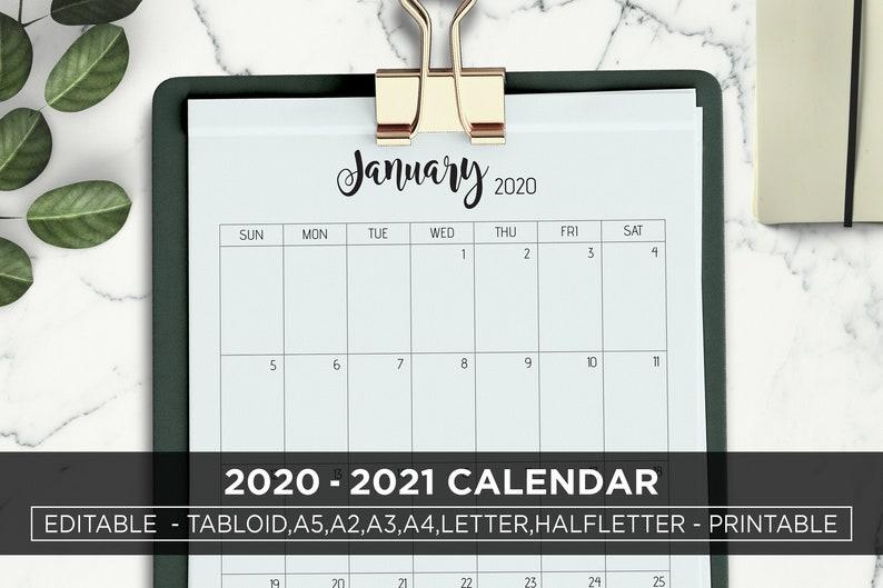 Bearbeitbare Kalender 2020 2021 große Wand Kalender | Etsy
