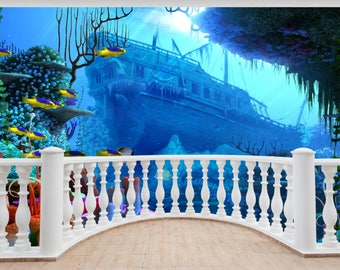 Huge 3D Porthole Fantasy Mermaid Under Sea View Wall Stickers Film Mural 524