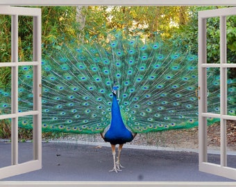 34abc94af8 3D Window View Beautiful Peacock Wall Decal Sticker Frame Mural Effect Home  Decor Bedroom Living Room Kitchen Bathroom Nursery 243