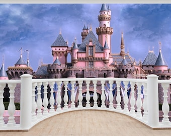 Huge 3D Balcony Fantasy Castle Pink Wall Stickers Decal Mural 949