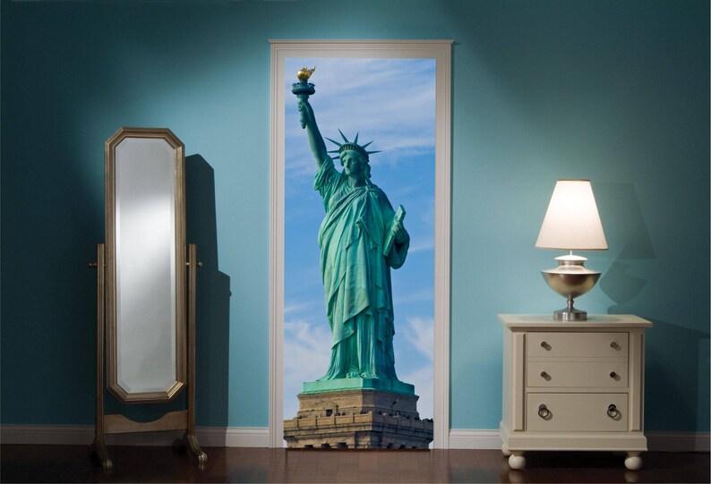 Door Mural Statue Of Liberty View Effect Decal Mural Home Decor Window Sticker Wallpaper Home Living Vinyl Art Bedroom Lounge Kitchen 71
