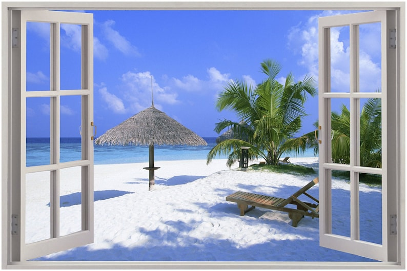 Huge 3D Window view Exotic Beach Sea Ocean Wall Sticker Mural Art Decal  1131