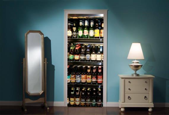Kleiner Kühlschrank Bier : Tür wandbild kühlschrank voller bier blick effekt aufkleber etsy