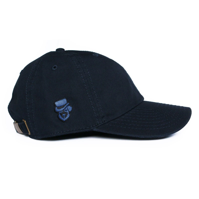 320d07d80ce0d Mens Navy Blue Chino Cotton Low Profile Baseball Cap with Blue