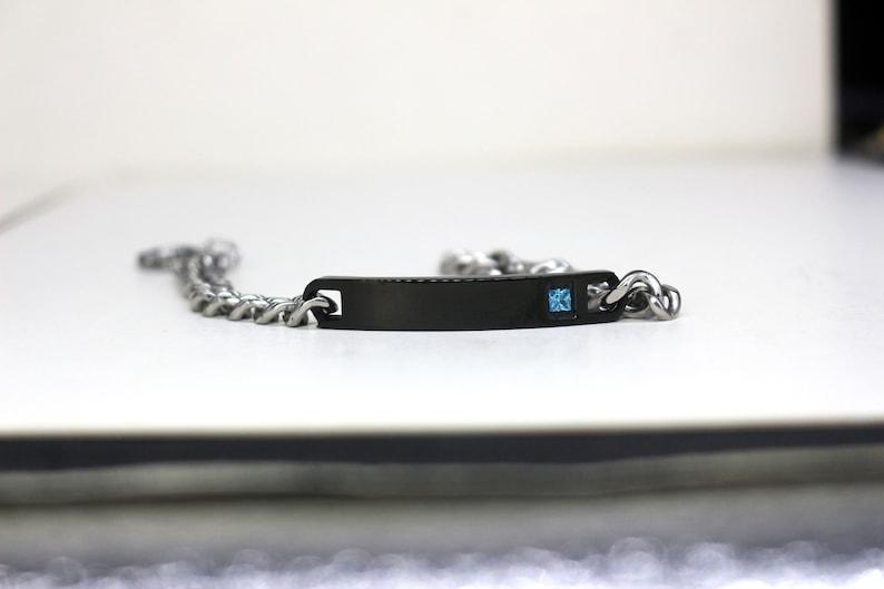 Men\u2019s Chain Bracelet Engraved Bracelet Gift For Dad Personalized Bar Bracelet Birthday Gift Custom For Boyfriend Name Bracelet for Men