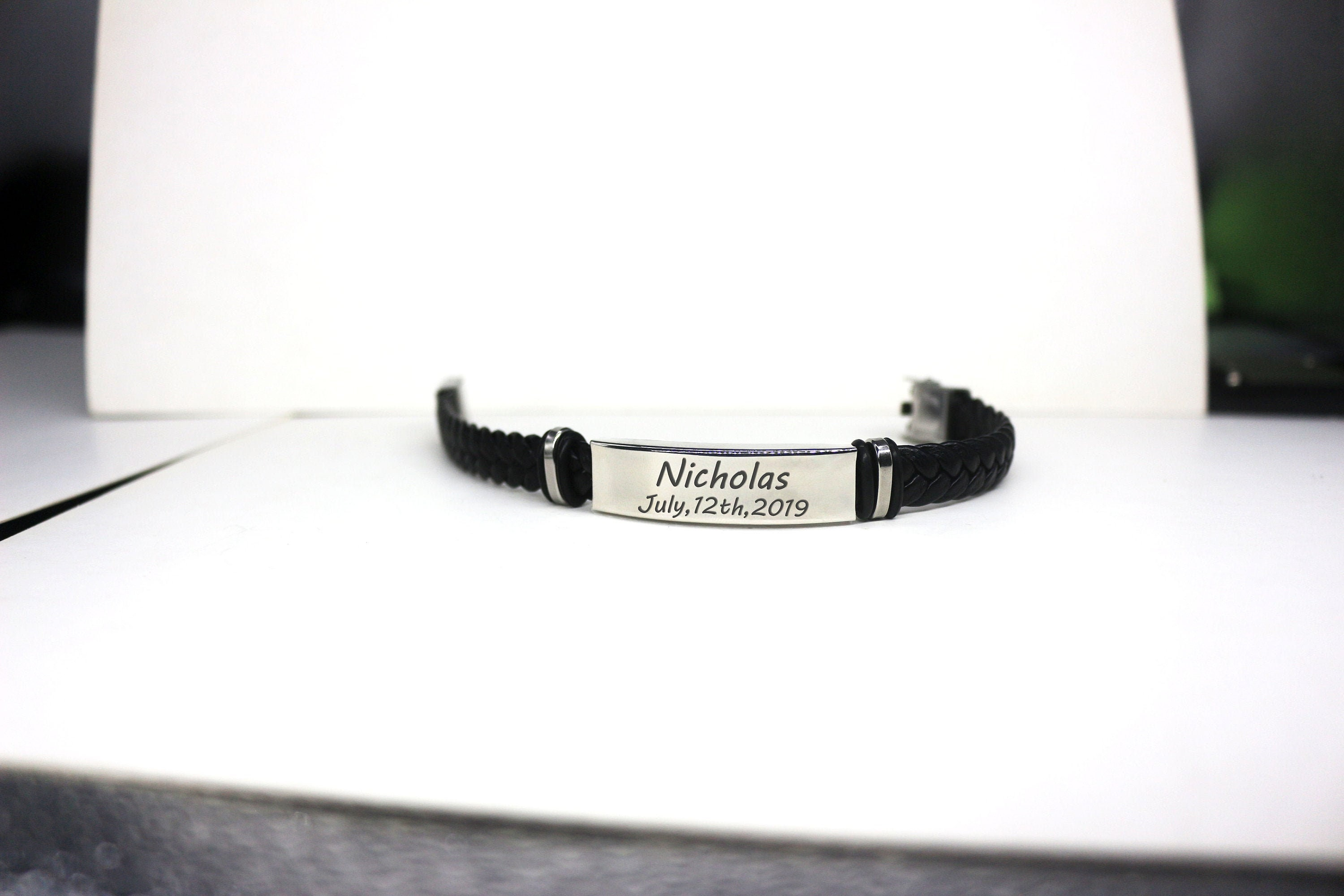 Black Leather Bracelet Personalised Jewellery  Valentines Day Anniversary Mens