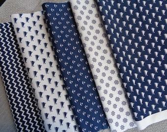 Jersey kleine Möven und Seesterne auf blau gestreift Baumwoll Jersey 0,5m