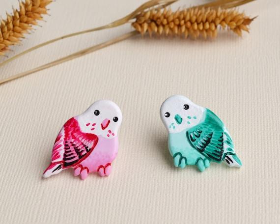 Bird brooches  Collar pin set  Pair gifts best friends, matching sisters,  daughter mom  Budgie birds pins  Cute pink bird little mint bird