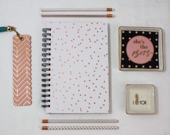 Lined Journal-Bujo-Rose Gold Foil-Spiral Notebook-Journal-Notebook-Lined Notebook-Cute Journal-Journal Diary-Blank Notebook-A5 Notebook
