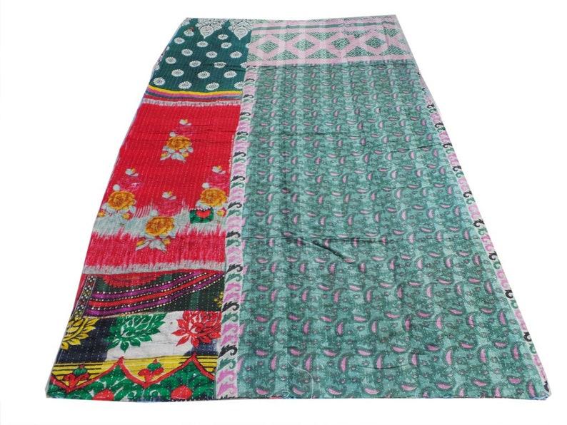 Vintage Cotton Kantha Quilt Handmade Cotton Gudri Reversible Throw Ralli Bedspread Cotton Blanket Quilt Cotton Bedspread