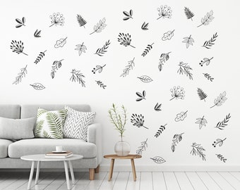 Autumn Leaves Wall Decal  -Falling Leaves Decal, Vinyl Wall Decal, Living Room, Bedroom,Scattered leaves, Seasonal decor