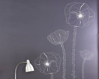 Pack Of 4 Poppy Wall Decals  -Wild Flowers Decal, Vinyl Wall Decal, Living Room, Bedroom, Feature Wall